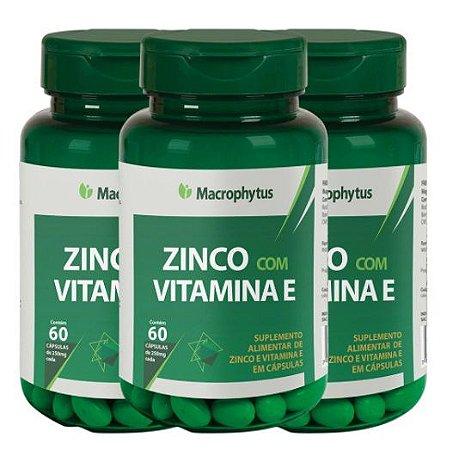 Kit 3 Zinco Com Vitamina E 250mg - 180 Cápsulas  Macrophytus