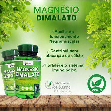 2 Magnésio Dimalato Total 120cps 500mg  VEGANO - Nature Orgânico