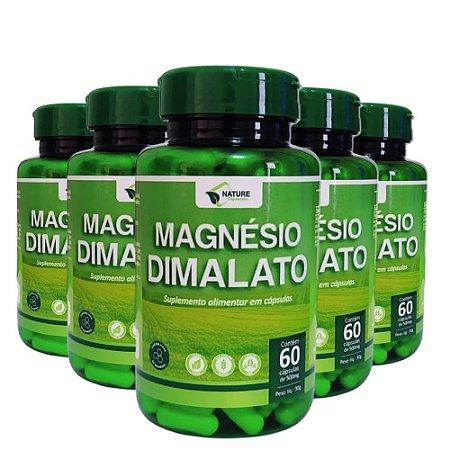 Magnésio Dimalato 500mg, 300cps - 5 Unidades de 60cps Vegan