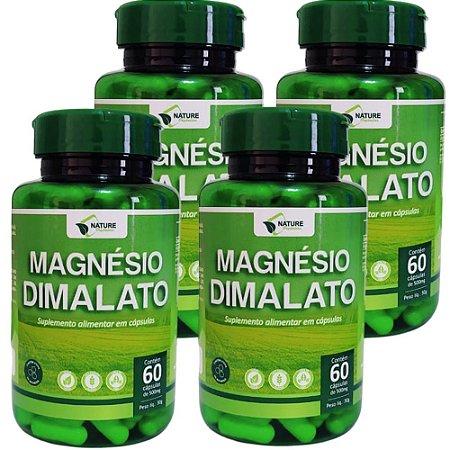 Magnésio Dimalato 500mg  240cps - 4 Unidades de 60cps Vegan