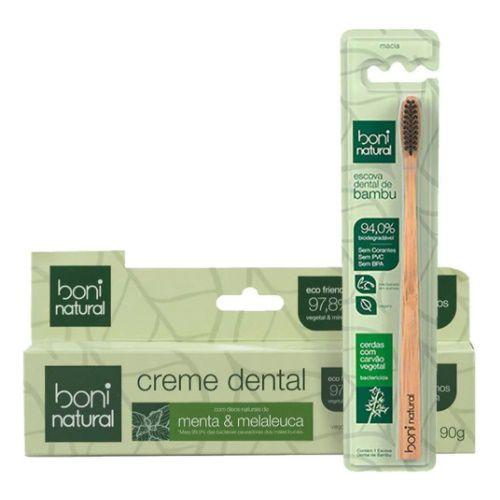 Escova Dental De Bambú Boni + Creme Natural Menta Melaleuca