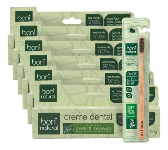 Escova Dental De Bambú + 6 Creme Dental Boni Natural Melaleuca