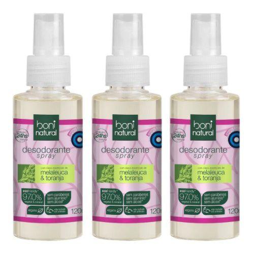 3x Desodorante Spray Boni Natural Melaleuca E Toranja 120ml
