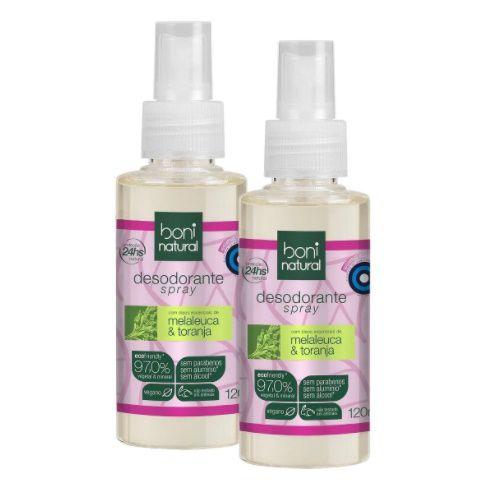 Kit 2 Desodorante Spray Boni Natural 120ml - Vegano