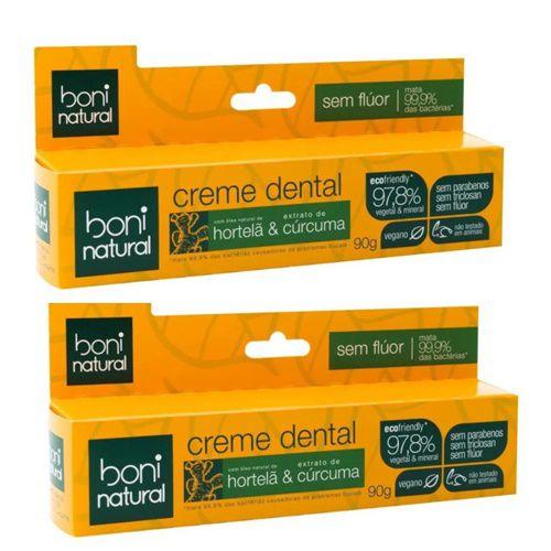 2x Creme Dental Boni Cúrcuma E Hortelã S/ Flúor Vegano - 90g