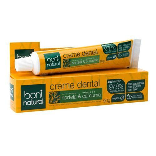 Creme Dental Boni Cúrcuma E Hortelã S/ Flúor Vegano - 90g