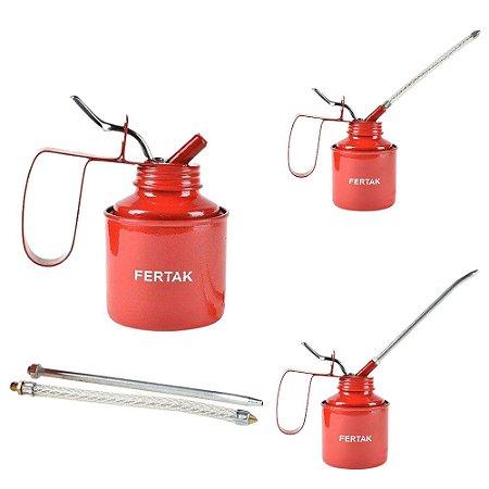 Almotolia Profissional Metal 250 ML Bomba Óleo Com 2 Bicos