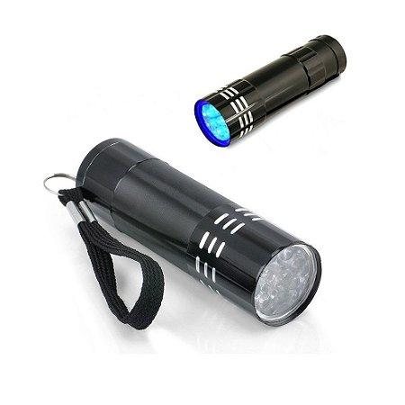 Mini Lanterna Luz Ultra Violeta Com 9 Led Portátil Camping
