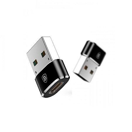 Adaptador Baseus Mini Compacto Tipo C para Usb - Cor Preto