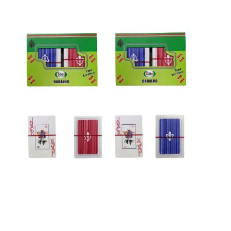 Kit Jogo de Baralho Cartas Papel Plastificado 4 Jogos