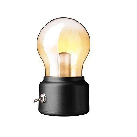 Mini Luminária Abajur Portátil Retro Bateria Lâmpada Led
