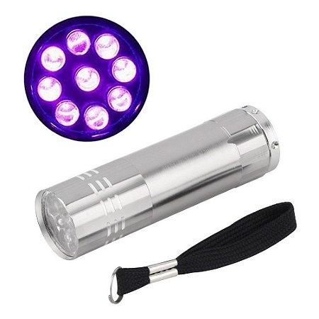 Mini Lanterna Luz Ultra Violeta Com 9 Led Portátil Camping P