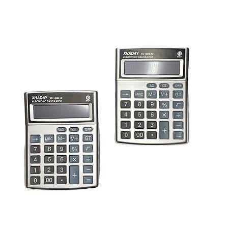 Kit 2 Calculadoras Portátil Mesa Super Compacta 12 Dígitos