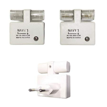 Kit 2 Lâmpada Tomada Sensor Luz Noturna Automático Led