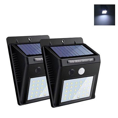 Kit Luminária Solar 30 Led Sensor Presença 2 Unidades