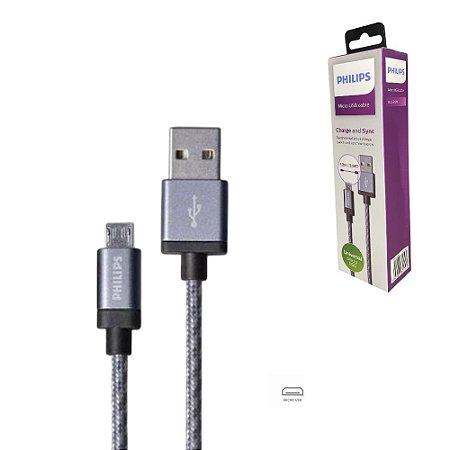 Cabo Philips Micro USB V8 Reforçado Celular Android 120 cm