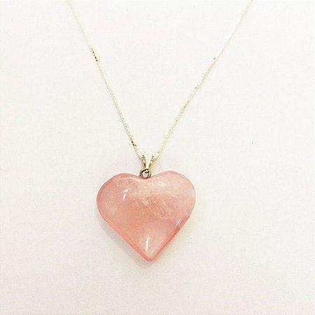 Gargantilha Coração de Quartzo Rosa