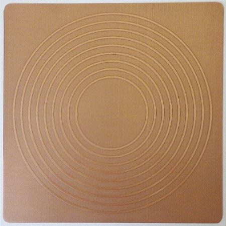 Placa Nove Círculos  Cobre Maciço