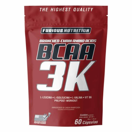 BCAA 3k furiouns nutrition refil 60 cápsulas