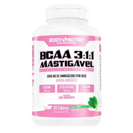 BCAA 3:1:1 Mastigável Body Nutry Feminy 60 tabletes