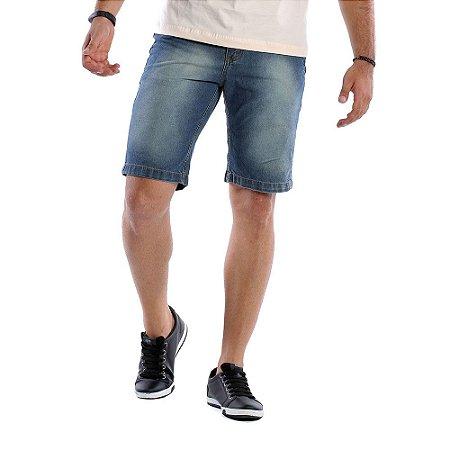 Bermuda Masculina Jeans Escuro Rasgadinha Bamborra Premium