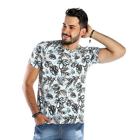 Camiseta Masculina Branca Com Estampa Florida Bamborra