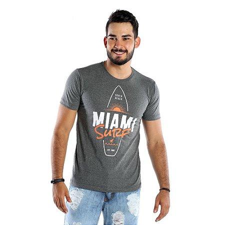 Camiseta Masculina Estampada Miami Surf Cinza