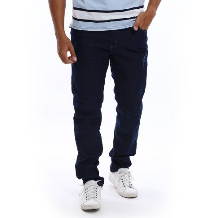 Calça Jeans Masculina Bamborra Azul Escuro Lisa