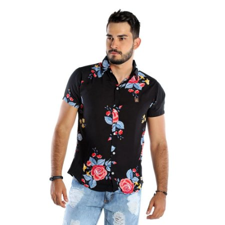 Camisa Casual Masculina Preta Florida