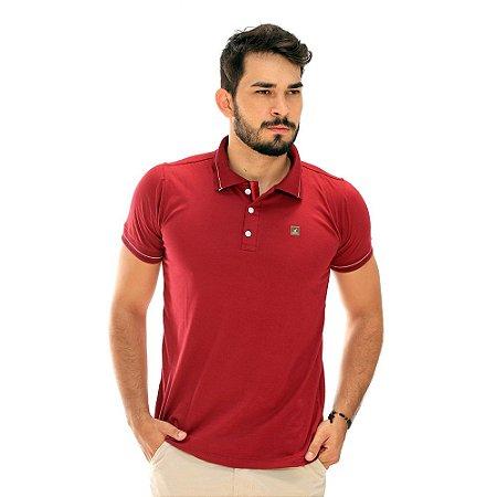 Camisa Polo Masculina Básica Vermelha de Algodão
