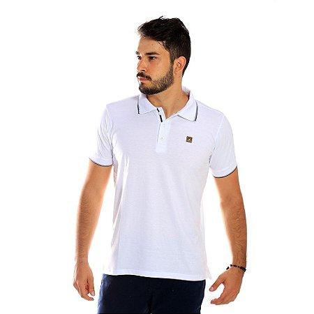 Camisa Polo Masculina Básica Branca de Algodão