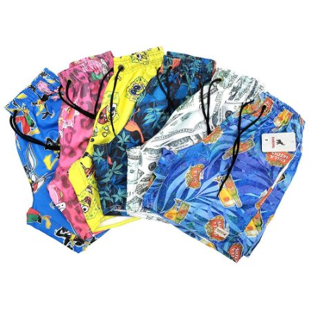 Kit Com 6 Shorts Praia Masculinos de Tactel Estampados