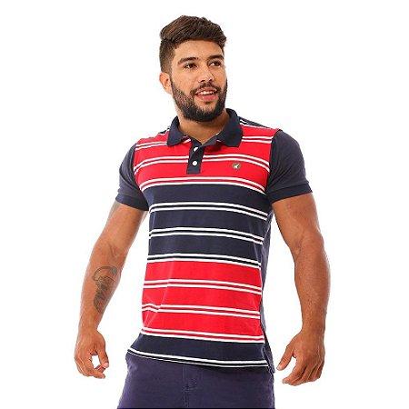 Camisa Polo Masculina Listrada Azul com Vermelho