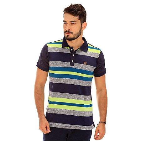Camisa Polo Azul Marinho Listrada Com Cinza e Verde