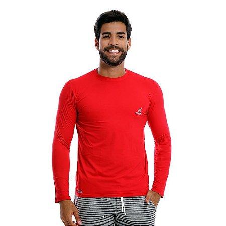 Camisa UV Masculina Com Proteção Solar Fator 50 Vermelha