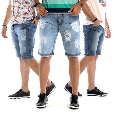 Kit com 3 Bermudas Jeans Masculinas Super Estilosas