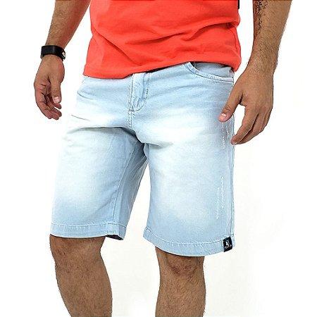 Bermuda Jeans Tradicional Masculina Azul Claro Estonada