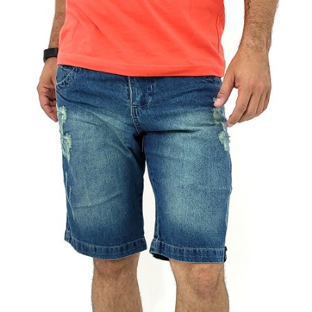 Bermuda Jeans Masculina Tradicional Esverdeada Rasgadinha