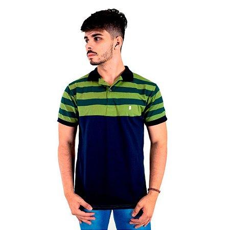Camisa Polo Masculina Blitz Listrada Verde Com Marinho