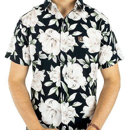Camisa Masculina Florida Preta Casual de Manga Curta