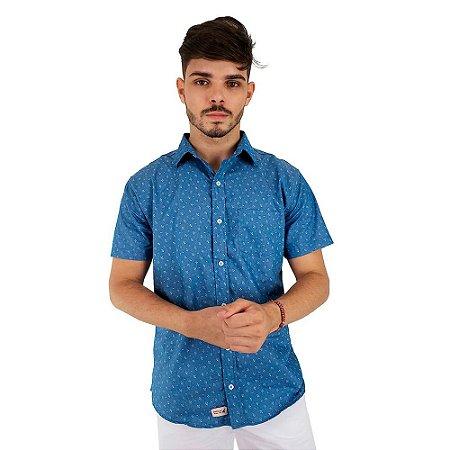 Camisa de Botão Masculina Jeans Casual Azul Claro