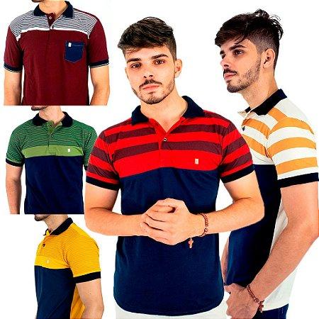 Kit com 5 Camisas Gola Polo Blitz Masculinas Listradas