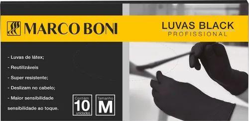 Luvas Black Marco Boni Profissional tamanho M com 10 unidades