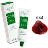 Tintura Keune So Pure Color 6.66 Luro Escuro Vermelho Intenso 60ml