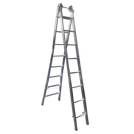 Escada Extensiva Alumínio 2X8 Degraus Real