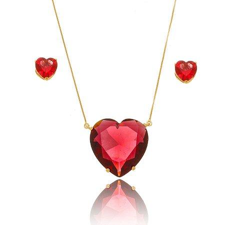 Conjunto de Colar e Brinco Coração Vermelho Banhado a Ouro