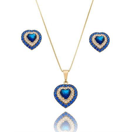 Conjunto Colar e Brinco Coração Azul Cravejado Banhado Ouro