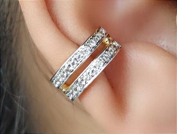 Brinco Piercing Fake Orelha Cartilagem Folheado a Ouro Unid