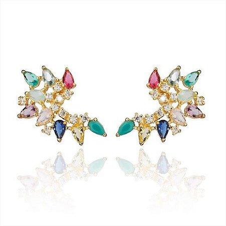 Brinco Ear Cuff Colorido Zirconias Forma Gota Banhado a Ouro