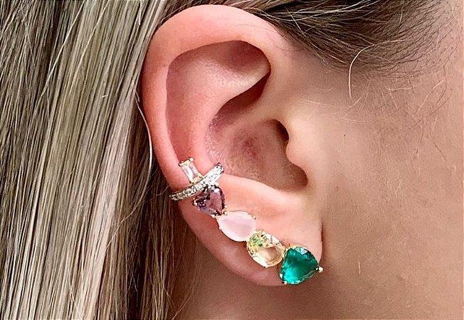 Brinco Ear Cuff Pedra Cristal Coração Gota Banhado Ouro